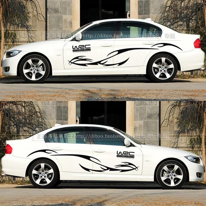 fashion WRC car whole body car styling ,personality car door garland modification  decor sticker for AUDI/TT/CRUZE(China (Mainland))