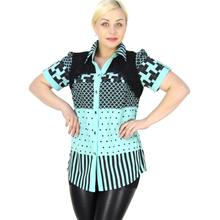 BFDADI Диапазон 2016 Летний Новый Женские блузки Хит цвет геометрическая Шить шаблон с коротким рукавом нагрудные рубашка большой размер 6806-1(China (Mainland))
