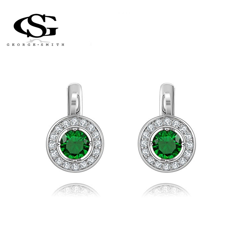 Fashion G&S George Smith White Gold Plated Earring Cubic Zirconia Mont Green Precious Srone CZ Stud earrings women - GEORGE SMITH JEWELRY(Russia store)