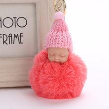 Coelho bonito Faux Fur Pompom Keychain Macio Bebê Dormindo Mulheres Pom pom Charme Saco da corrente Chave Chave Do Carro Cadeia de Natal jóias Presente(China)