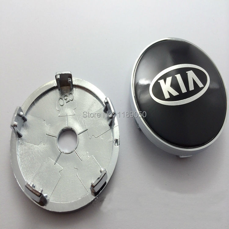 "New 4Pcs 60mm 2.36"" Black kia wheel Center Caps Kia Cover Hub Free Shipping(China (Mainland))"