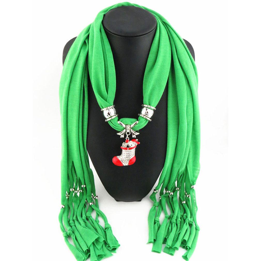 Women Gradient Dacron Necklace Scarf Mini Christmas Shoes Pendant Hijab Sunscreen Shawl(China (Mainland))