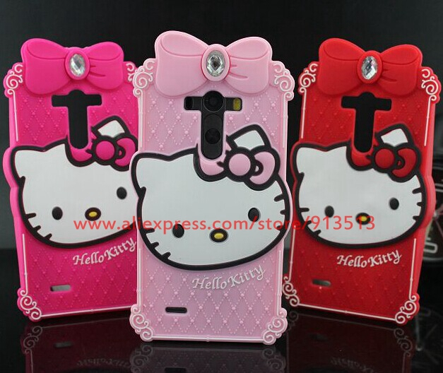 New Crystal Diamond Hello Kitty Soft Rubber Mobile Phone Back Skin Case For LG G3 D851 D850 D855(China (Mainland))