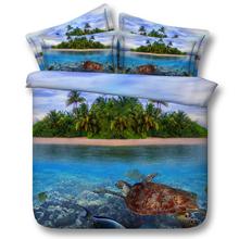 Ocean tortoise fish bedding 3d print queen super king double green tree comforter duvet quilt cover set bed sheet(China (Mainland))