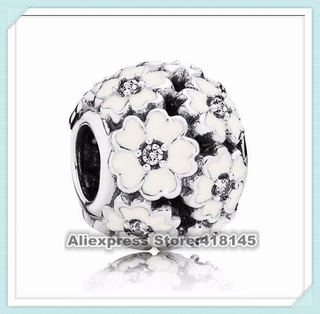 925 Sterling Silver Primrose Charm Bead with Clear Cz and White Enamel Fits European Style Jewelry Charm Bracelets<br><br>Aliexpress