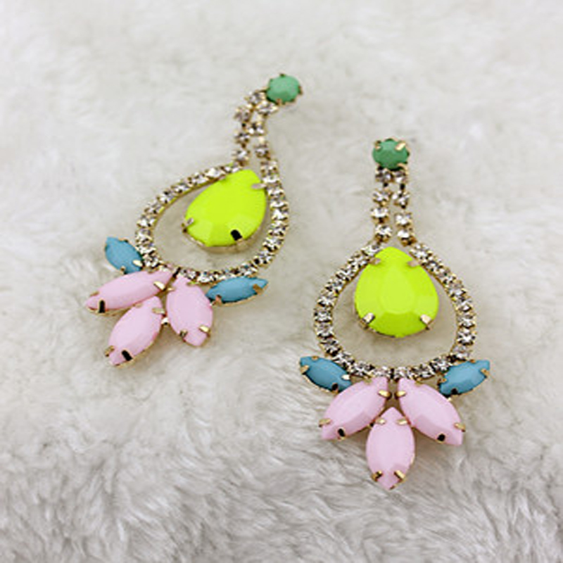 2016 retro fashion rhinestone earring pendant neon color earring #E250(China (Mainland))
