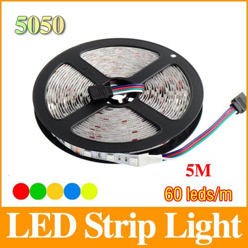 5m 5050 rgb led strip 12V 60 led/m smd flexible light monochrome/RGB/white/warm white/red/blue/green/yellow tracking number LS26(China (Mainland))