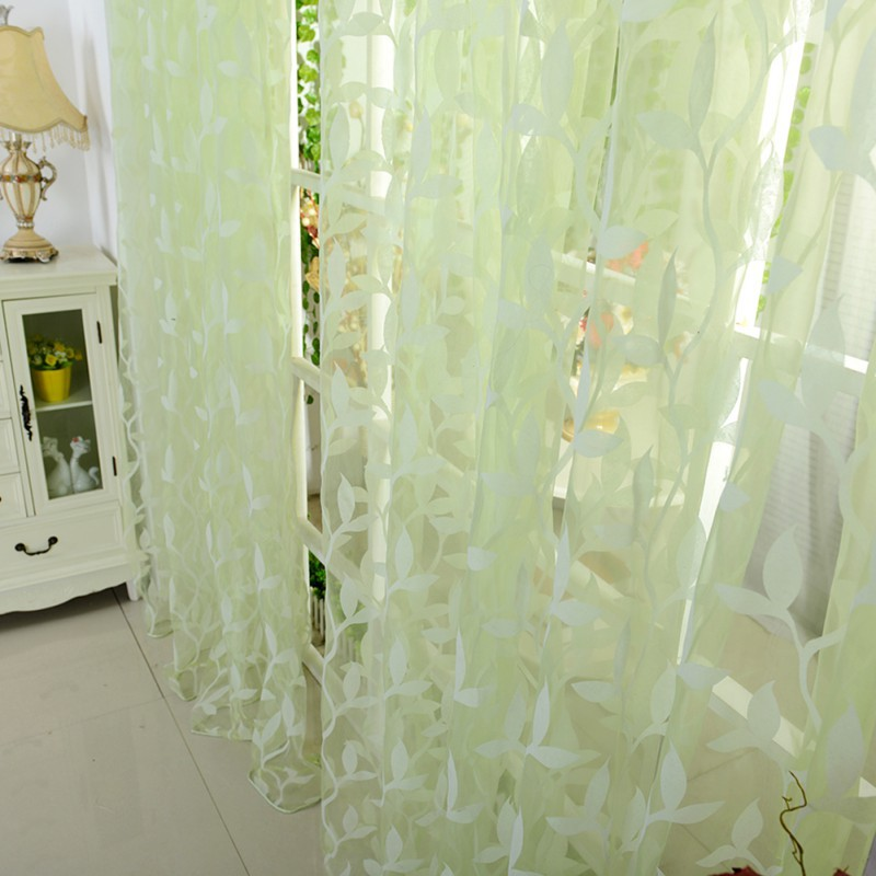 Leaf Tulle Voile Door Window Curtains Drape Panel Sheer Scarf Valance 4 Color Hot(China (Mainland))