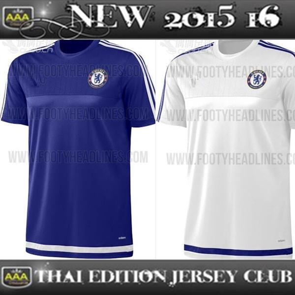 Training Shirt 2016 Chelsea Soccer Jerseys Home Blue Away White 15 16 Chelsea Training T-Shirt HAZARD CUADRADO TERRY DROGBA(China (Mainland))