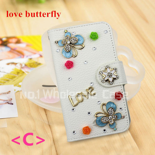 2015 Top Hot Selling New Bling 3D Pendant Flip Leather Case Cover Zte Prestige N9132 Card Slots Cell Phone Free DHL