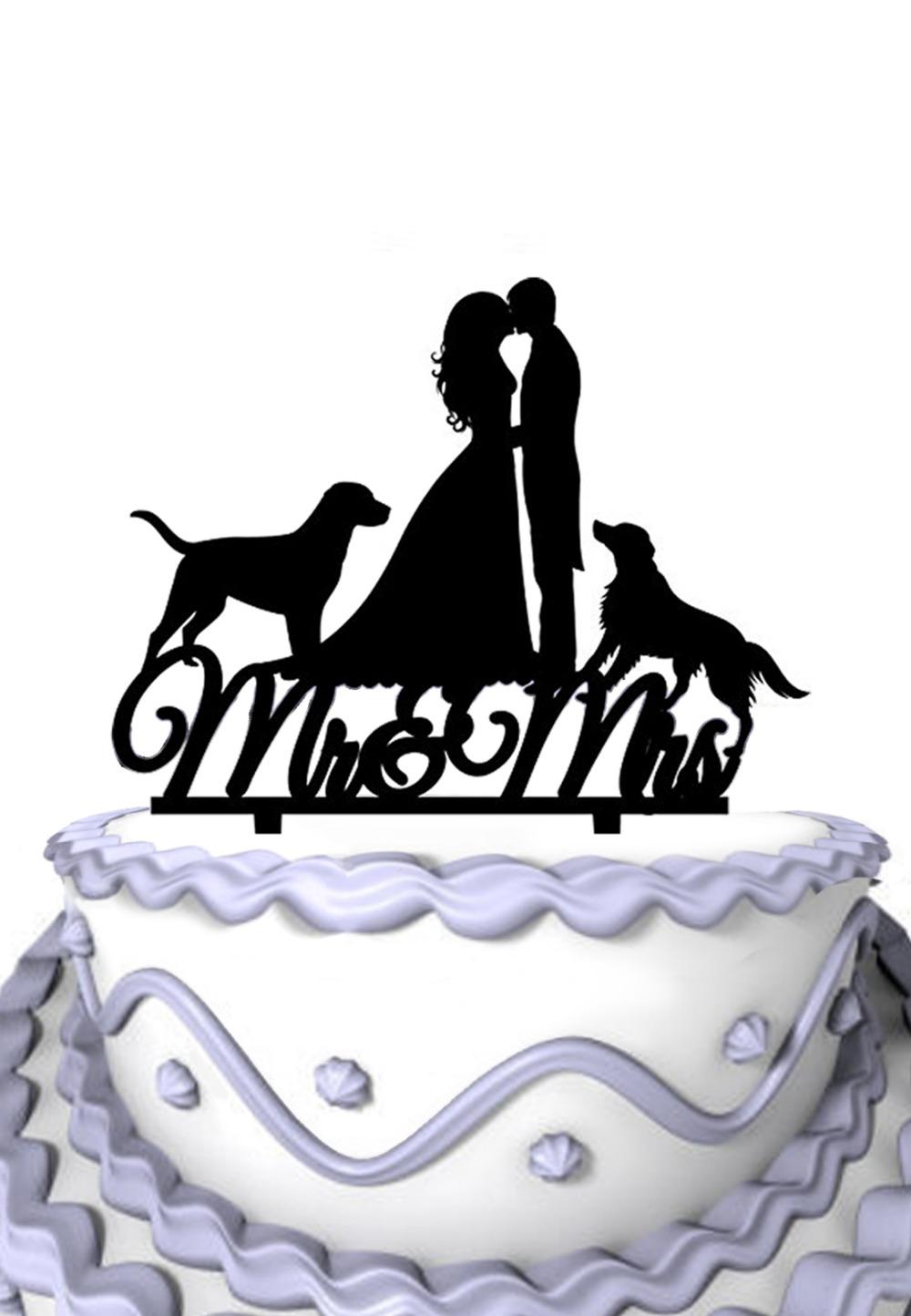 Mr Mrs Wedding Cake Topper- Wedding Cake Decoration- Sihouette Cake Toppers- Wedding Cake Topper Dog(China (Mainland))
