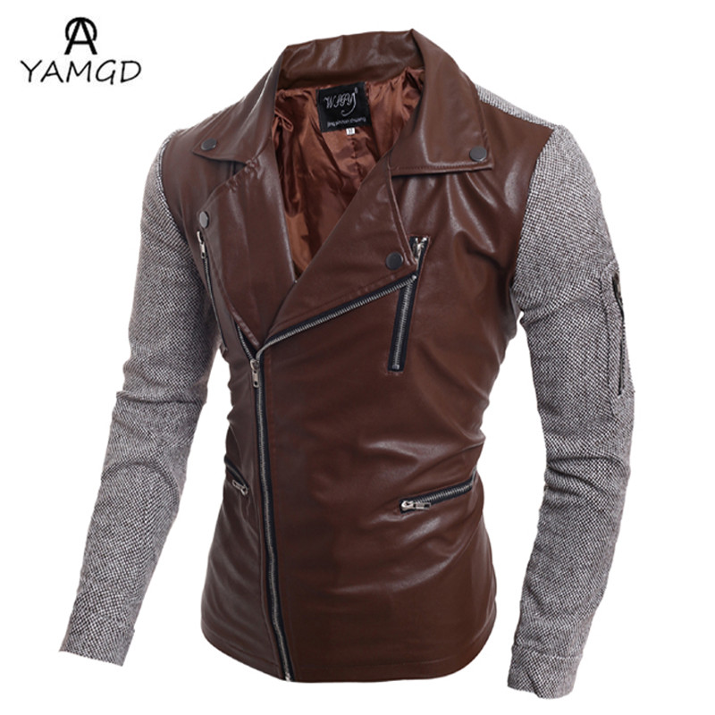 2016 autumn/winter fashion new men leisure inclined zipper leather coat / man's big turn down collar splicing sleeve pu jacket(China (Mainland))