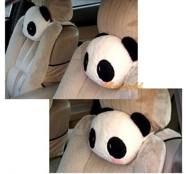 Cute Cartoon Panda Plush Auto Waist Cushion Car Seat Neck Rest Headrest Pillow(China (Mainland))