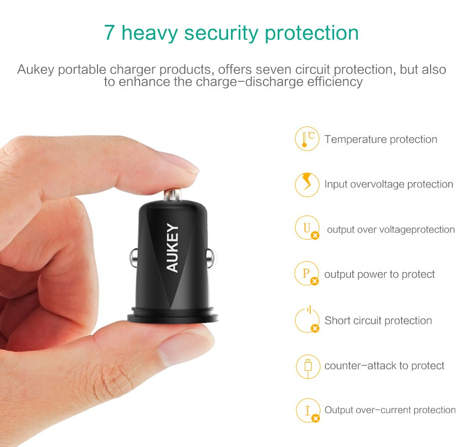 AUKEY 4.8A Dual Port USB Car Charger Mini Universal Fast Smart Car-Charger For Apple iPhone 7 LG Samsung Xiaomi &More Phone PC