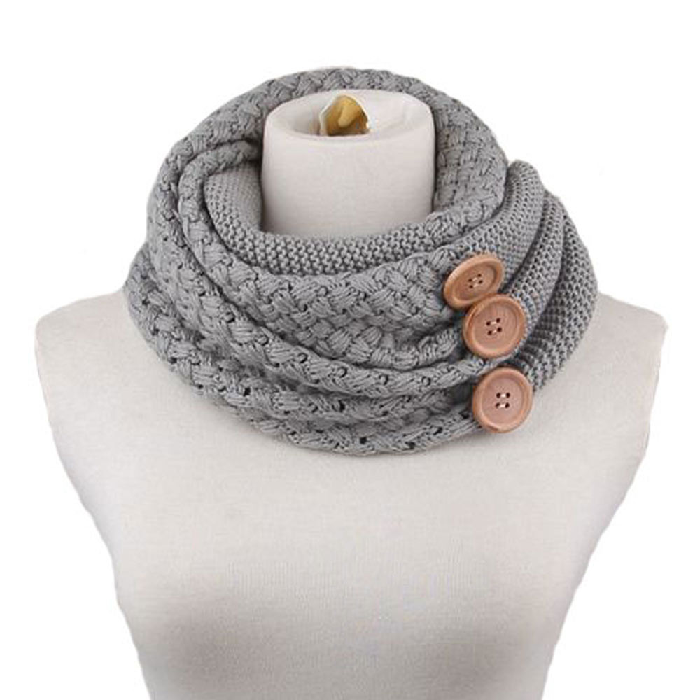 New Design Fashion Autumn Winter Scarf Women Warm Wool Blend Two Circle Cable Knit Cowl Neck Scarf Shawl cachecol Free Shipping(China (Mainland))