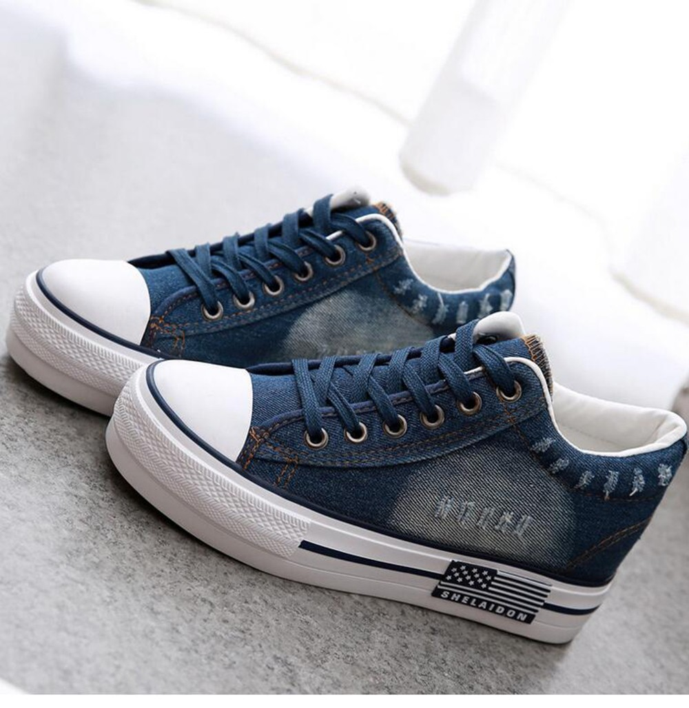 new spring canvas shoes female denim casual shoe women anti-skid breathable Chaussure Femme Zapatos Mujer height-increasing