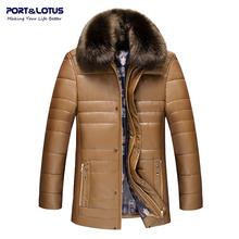 Port&Lotus Men Leather Coats PU Winter Jacket Men Furry Collar Brand Clothing Formal Men Clothing Brand Clothing 061 JYL(China (Mainland))