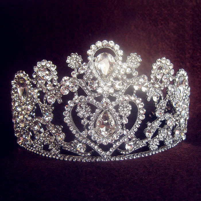 2014 Bridal Hair Accessories  Free Shipping High Quality Sparkling Large Tiara Plated Crown For Wedding Prom Party Bride