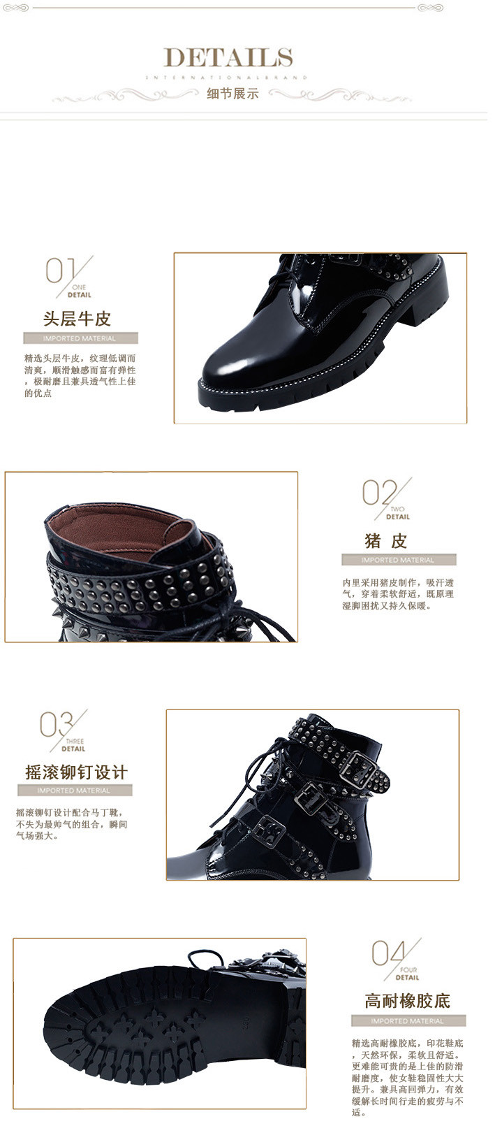 British Style Classic Women Boots 2016 new Genuine Leather Fashion Martin Shoes Lace Up Rivets Square Heels Autumn Ankle Boots