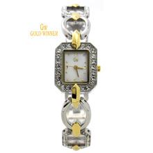 GOLD WINNER Brand Fashion Diamond Women Girls Shell Face Stainless Steel Waterproof Watches Quartz Watches Wristwatches