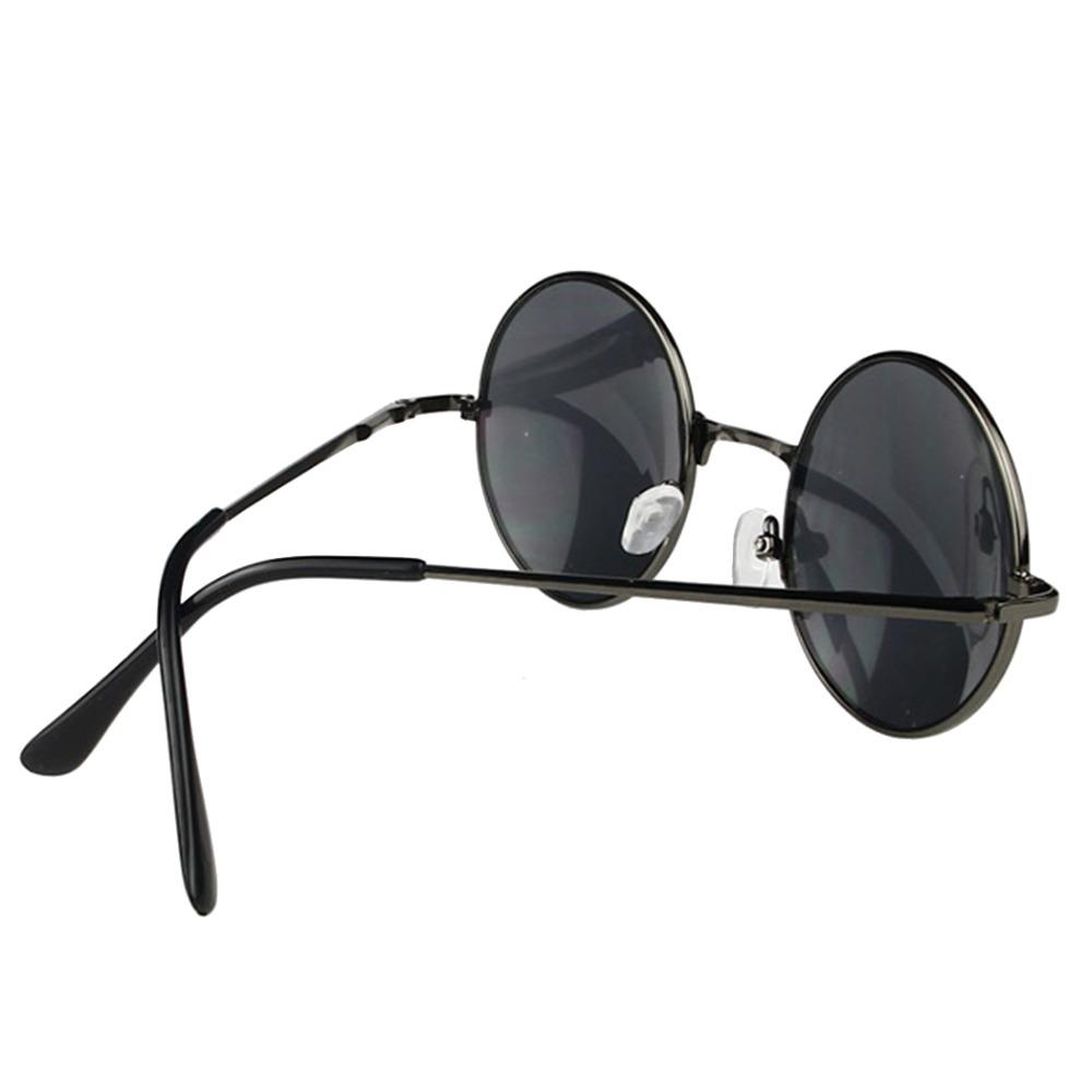 Vintage Retro Men Women Round Metal Frame Sunglasses Glasses Eyewear Black Lens 2015 New(China (Mainland))