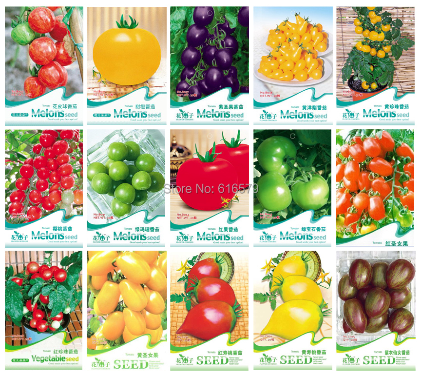Free shipping 15 KINDS 350+ TOMATO SEEDS Cherokee Purple Black Red Yellow Green Cherry Peach Pear Tomato Non-GMO Organic Food(China (Mainland))
