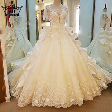 Luxury White Beading Ruffles Tulle Sexy Wedding Dress Short Sleeves High-end Brush Train Bridal Gown Vestido De Noiva 2017(China (Mainland))