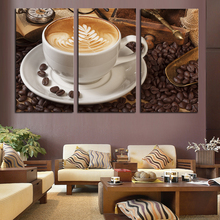 3 Panel Coffee Wall Art Picture Modern Painting Canvas Home Decoration Living Room Canvas Print--Large Canvas Art Unframed(China (Mainland))