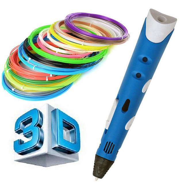 Высокое качество 3d-принтер Pen1.75mm ABS/PLA Smart 3D Рисунок Пером перо + Свободной Нити + Адаптер Творческий Подарок Для дети Дизайн Живопись