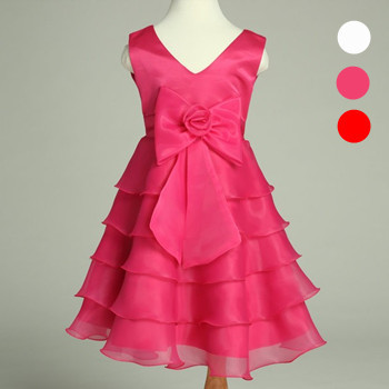 baby & kids new 2014 girl european style layered ruffle princess party formal wedding dress children big bow chic pageant