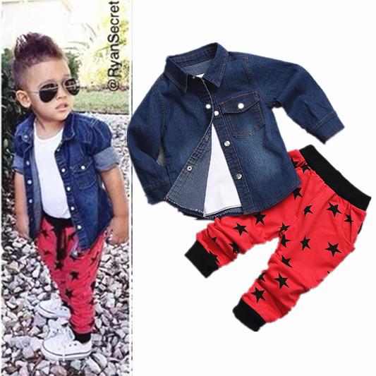 Children s boys clothing set 2015 New Denim jacket vest pants 3pccs coat Suit Baby Boys