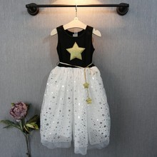2015 Summer Children Kid Girls One Piece Dress Stars Sequins Tulle Bow Dress Tutu Dress Baby