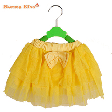 2014 New Girl Skirts Fashion Multilayer Candy Color Yarn Bayby Tutu Skirt Bowknot Children Clothes C10-18(China (Mainland))