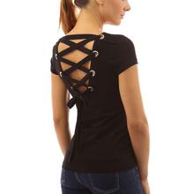 T Shirt Women Sexy Backless Hollow Bandage Punk Tee Shirt Femme Woman Tops 2016 Fashion Short Sleeve Femme Camisetas Feminina