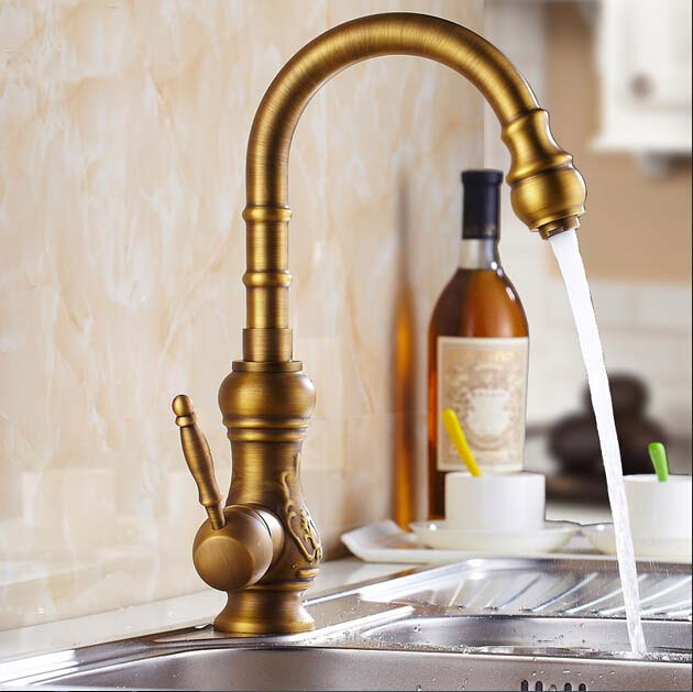 Фотография Luxury vintage style bathroom basin mixer antique brass swivel spout tap faucet single hole torneira banheiro