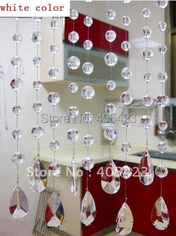 1meters,AAA+,white glass Crystal wheel bead Curtain!Decoration / Room Divider/glass Beaded Strands,WXY-18