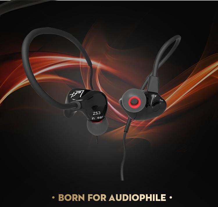 ถูก KZ ZS3ในหูหูฟังไฮไฟ3.5มิลลิเมตรชุดหูฟังสเตอริโอมือถือหูฟังวิ่งกีฬาหูฟังหูฟังหูฟังFone de ouvido