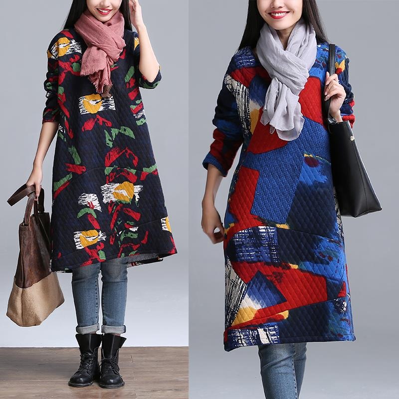 Autumn and Winter Plus Size Long Ethnic Cotton Dresses Fall Women Fashion clothing Freeshipping