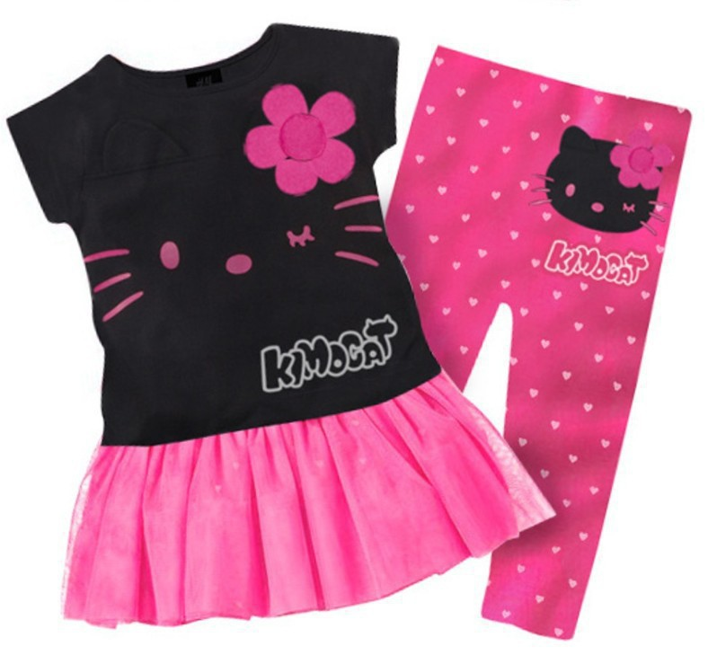 2015 new summer style Girls clothing set Kids girls Hello Kitty Clothing sets children Cartoon sport suit t Clothing Sets(China (Mainland))