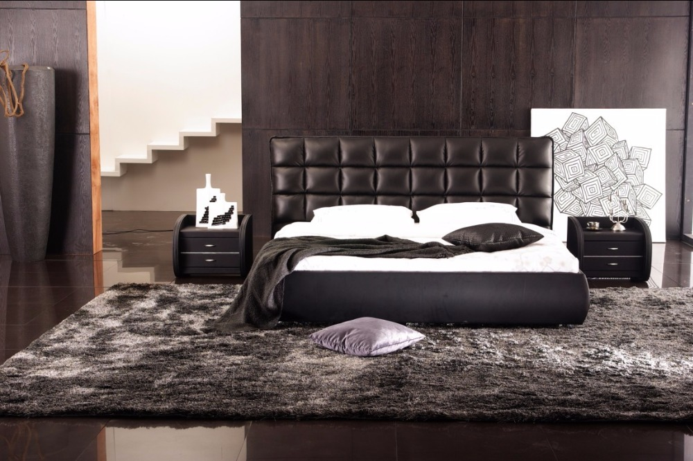 hihg headboard plaid contemporary modern leather bed King size bedroom  furniture Made in China China. Online Buy Wholesale modern leather beds from China modern leather