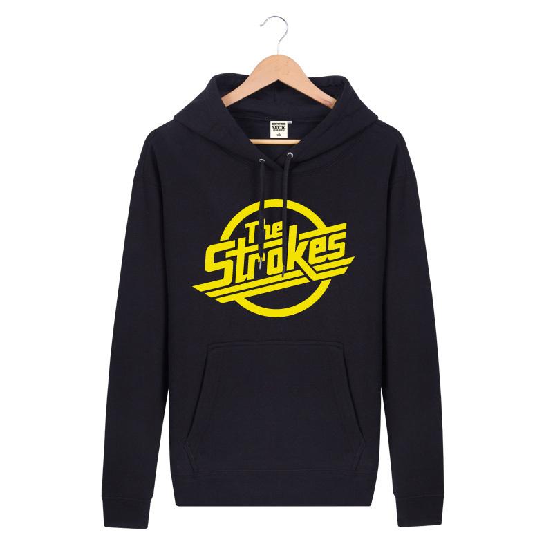 2015 the strokes Rock Band drum hit Sweatshirts cashmere hooded Sweatshirts jacket Men Wei pine cap(China (Mainland))