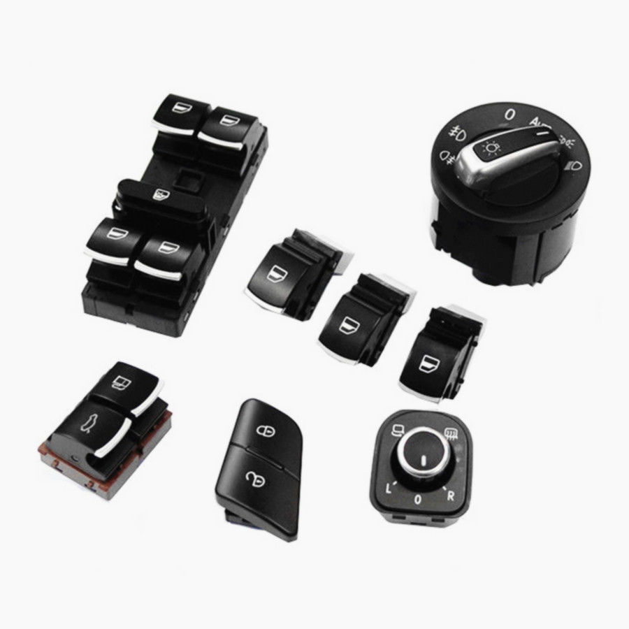 8PCS Headlights &amp; Windows &amp; Mirror Control Chrome Switch For VW Passat B6 3C 5ND 959 857 5ND 959 855 3C0 962 125 B 35D 959 903<br><br>Aliexpress