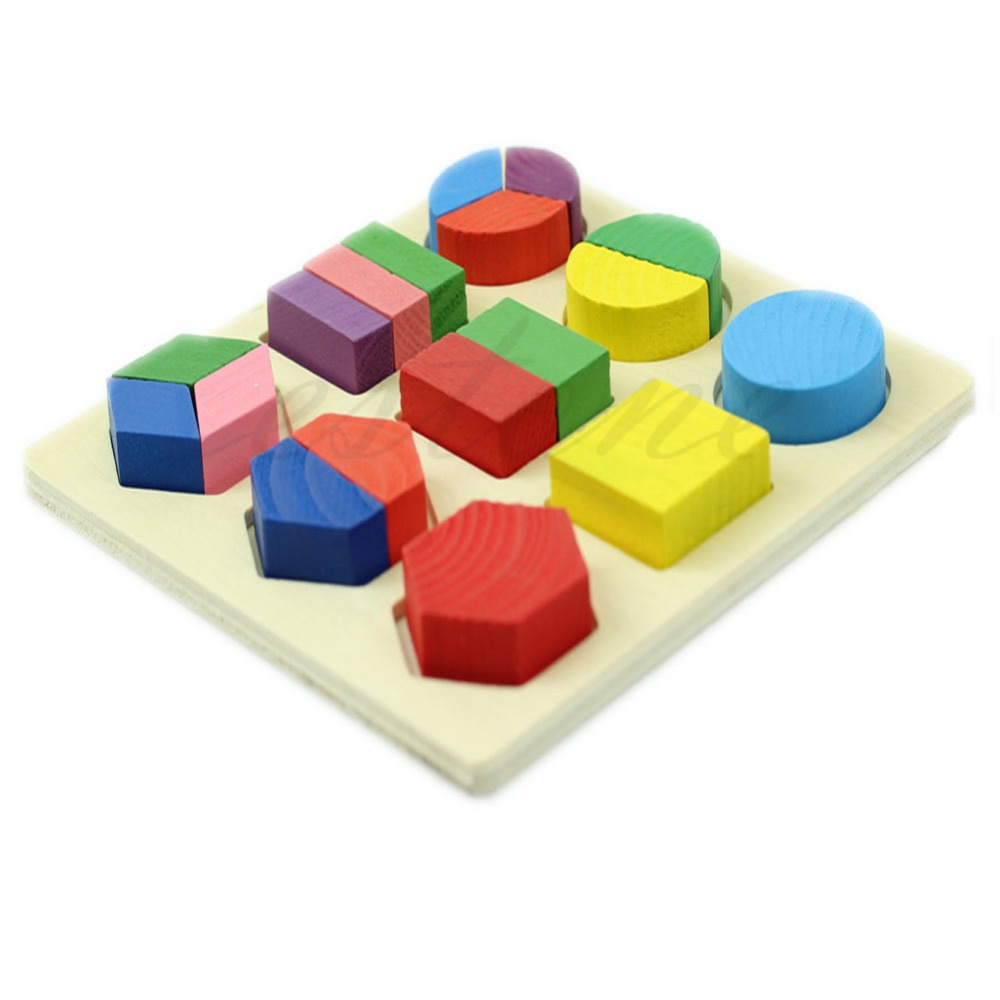Гаджет  Free Shipping Kids Baby Wooden Learning Montessori Early Educational Toy Geometry Block Puzzle None Игрушки и Хобби