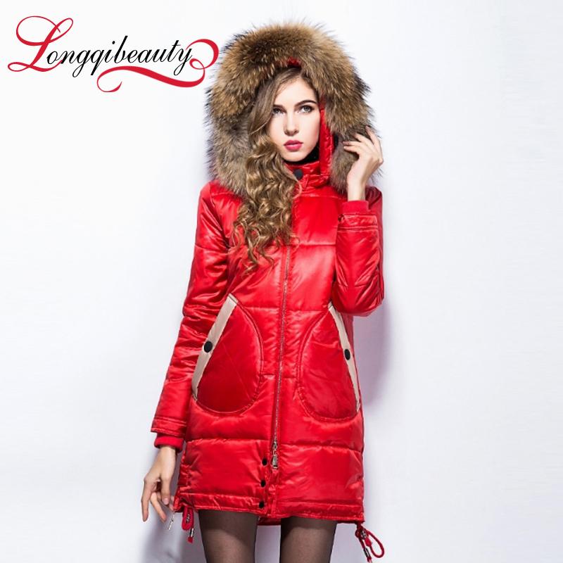 2015 Winter Jackets Women's Slim Long Cotton Coats Longqibeauty Solid Fur Collar Warm Winter coats