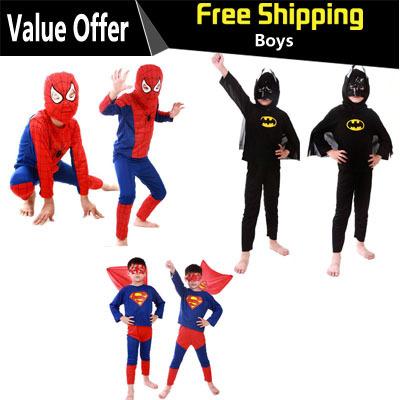 Spiderman Batman Children Party Cosplay Costumes Halloween Gift For Girls Boys Clothes Children's Set Children's Clothing Set(China (Mainland))