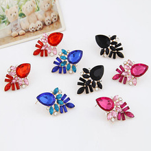 2016 Hot Sale New Arrival Womens Fashion Gold Plated Alloy Crystal Rhinestone Drop Leaves Ear Stud Earrings(China (Mainland))