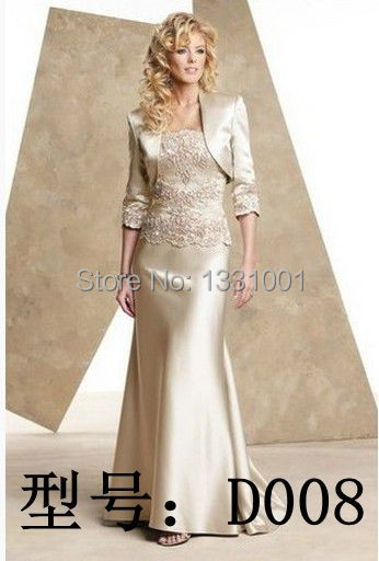 Petite Mother Of The Bride Gown 2015 Long Social Dress To Wedding Champagne Mother Of The Groom Dresses With Jacket Store D008(China (Mainland))