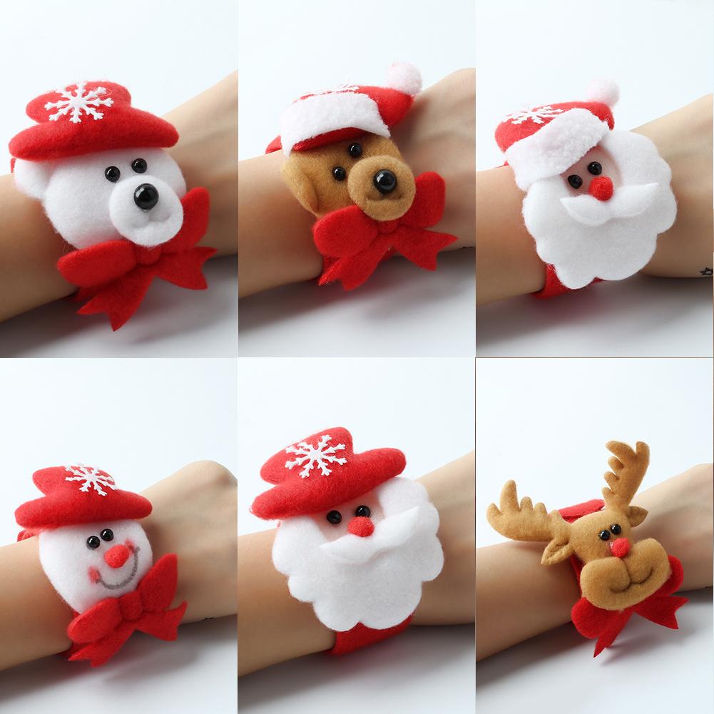 2Pcs Red Christmas Slap Bracelet Wristband Hairband Kids Xmas Party Decor Favor Gift Toy(China (Mainland))