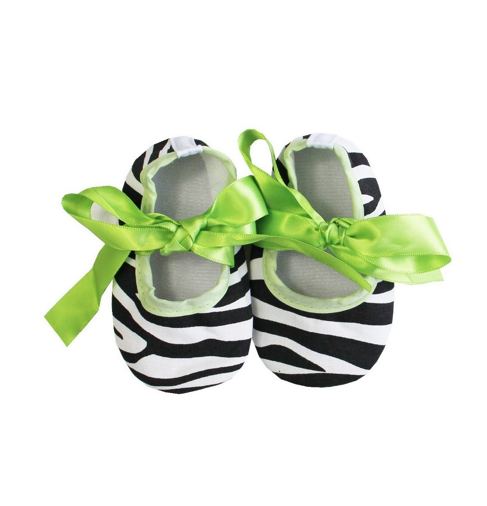 Baby cribs green - Baby Girls Halloween Lime Green Ribbon Zebra Crib Shoes 0 18m