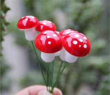 10Pcs Mini Red Mushroom Garden Ornament Miniature Plant Pots Fairy DIY Dollhouse(China (Mainland))